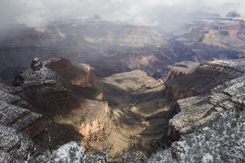 South Rim of the Grand Canyon in January.