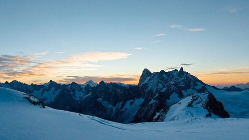 Sunrise on the Massif du Mont Blanc. Looking across the Vallée Blanche to the Grandes Jorasses and Dent du Géant. Above the French town of Chamonix.