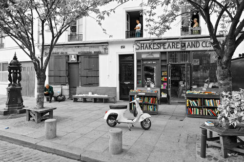 A lazy morning on Rue de la Bûcherie. Shakespeare and Company, a Paris institution since 1951, was named in honour of Sylvia Beach's original bookshop, which opened its doors in 1919 and closed during the occupation of France in World War II.