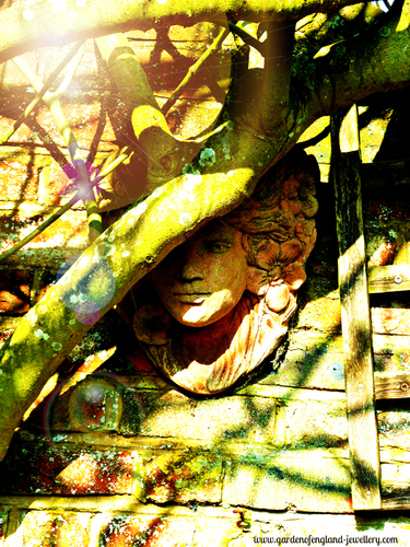 Garden mask in the spring sun