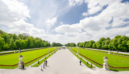 Taken on a beautiful sunday afternoon at the Nymphenburg Palace in Munich. The palace was the summer residence of the Bavarian rulers and is one of Munichs most famous sights today. Pictured is the grand parterre and the 490-acre park next to the palace.
