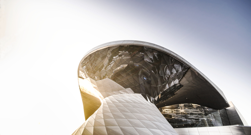 Showing the glass double cone of the BMW Welt in Munich.