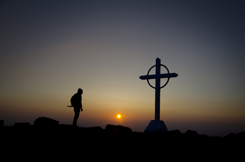 Self-portrait shot on top of Galtee Mor, Co Tipperary Ireland at sunset