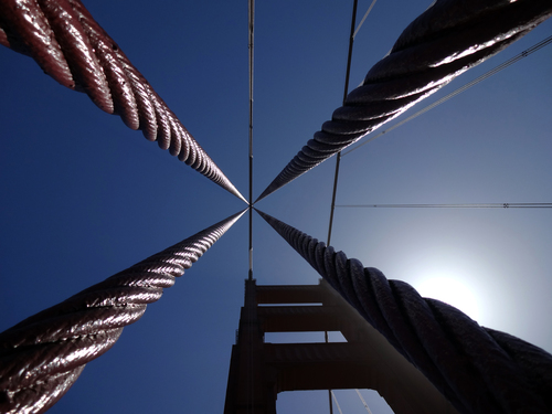 Support cables on The Golden Gate Bridge, San Francisco.  Each of these cables is 4.6 inches in diameter.