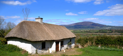 An old thatched home near Kilsheelan in County Tipperary, Ireland.