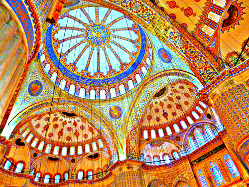 Stunning colours in mosaic in Istanbul, Turkey