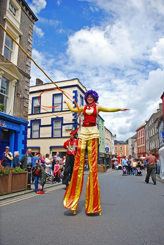 A stilt walker in New Ross, town during the annual Dunbrody festival.