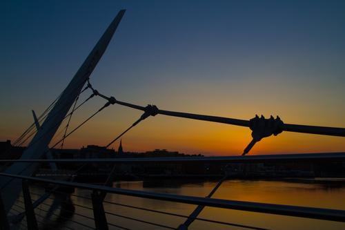 Sunset at Derry Peace Bridge