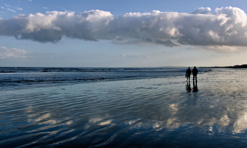 Walkers on the beach, Laytown.. Co. Meath
