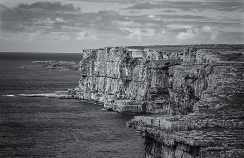 A view of the tall cliffs on Inishmore Island, near the prehistoric stone fort, Dun Aengus.