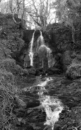 Karn Falls, perhaps a derivative of Carn - Irish for a monumental heap of stones - on the Burrenmore Road - Burren is Irish for a rocky place, mor is big, so a big rocky place - Castlerock, Northern Ireland. The falls are not particularly tall, about 14 feet.