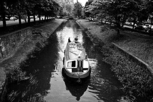 A canal barge on the Grand Canal, Dublin.