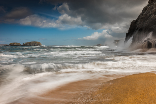 Waves break on the Irish north coast near Ballintoy Harbour in Co, Antrim.