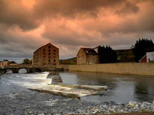 The salmon weir in Clonmel, County Tipperary on the River Suir.