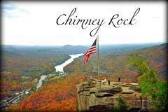 Way above the overlook of Chimney Rock State Park in Western North Carolina