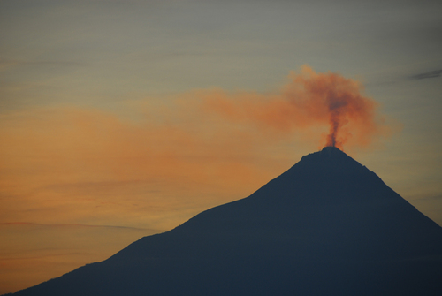 Mount Merapi, seen from the ruins of Borobudur. The Volcano erupted in 2010, killing 324 people.