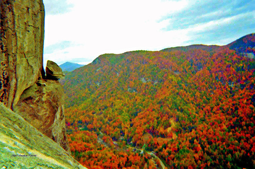 This strange rock formation which overlooks the mountain range of Chimney Rock is called devils head