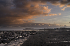 Looking South from Killiney Beach. Dusk comes in mid afternoon in mid winter, and some walkers relish the solitude.