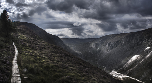 From Glendalough looking west along the Spinc.