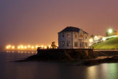 Taken on a misty night, the former dance hall has been restored to all its glory and updated for modern use.