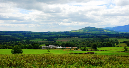 The green rolling countryside of County Waterford, Ireland.