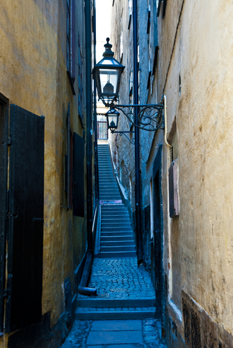 Very narrow street with steps in Stockholm