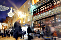 A Christmas scene on Grafton Street.