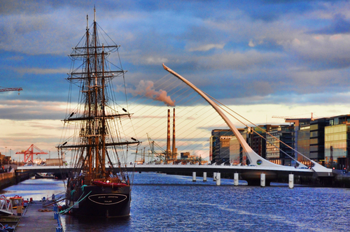 View over the Dublin Docklands.