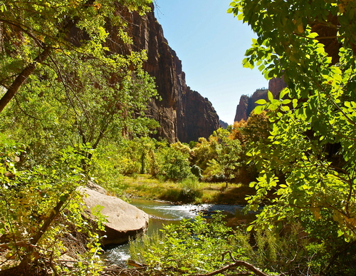 The Virgin River emerges from the Narrows into the main canyon and valley of Zion national park, Utah.
