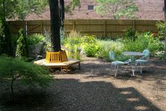 The quiet garden provides escape at end of workday