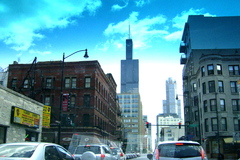 A drive through downtown Chicago gives a view of the Willis Tower