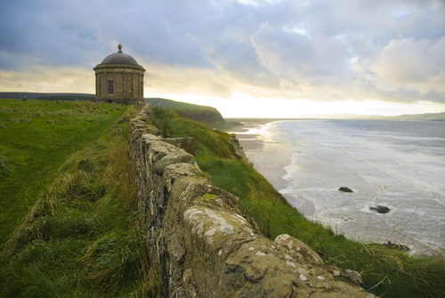 Mussenden temple, on the cliffs above Downhil Beach, Derry.