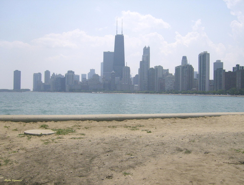 Chicago on a warm summer day from the lake shores