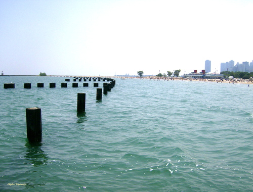 Lake Michigan shores and view of Chicago