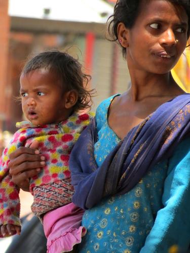 Lady and baby in Kathmandu
