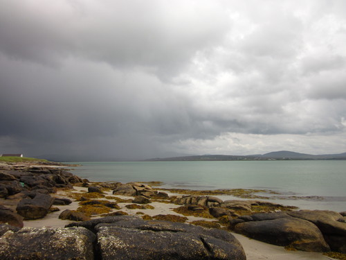 Taken looking into the bay from the headland at Meenacross, near Dungloe, Co.Donegal during high summer.