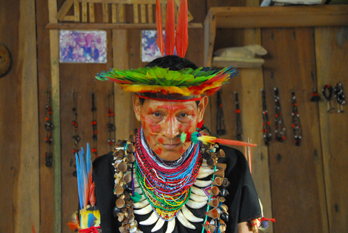 A Shaman in his home in the Cuyabeno Reserve, Ecuador. This is a colour version of a similar photo I've previously uploaded.