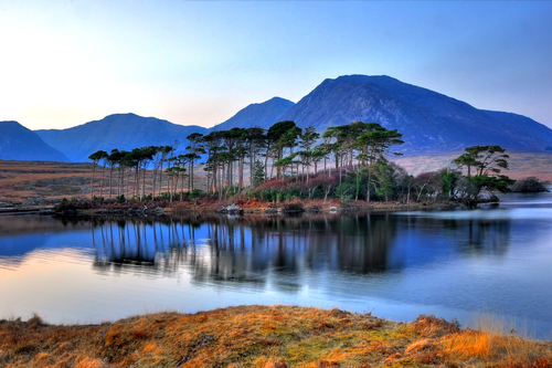Evening light over Pine Island, Derryclare, Connemara