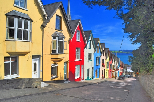 A typical street in the town of Cobh, Co. Cork, Ireland.