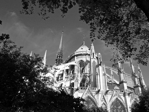 The southern aspect of Notre Dame in central Paris