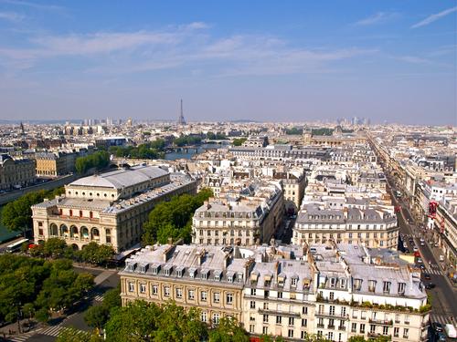 View over the roof tops of Paris towards the Eiffel Tower and La Defense from la Tour de Saint-Jacques.