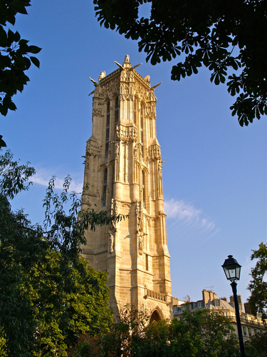 Morning view of the Tour de Saint-Jacques in central paris, recently opened to the public for the first time after restoration work.