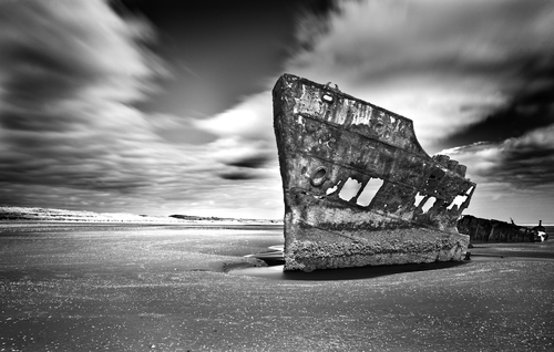 Remains of the 344-ton Irish Trader, of Hartlepool, grounded in 1974 en route from Sharpness to Drogheda with a cargo of fertiliser. Now stranded on Baltray beach, Co Louth.