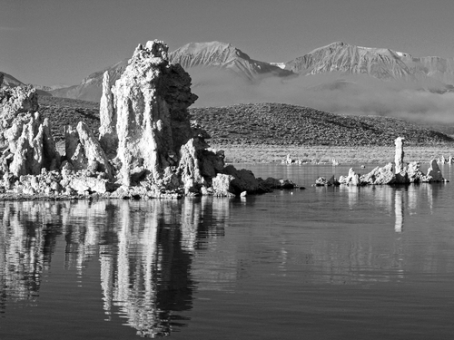 Morning light in early november strikes the strange tufa rock formations on the southern side of Mono Lake in eastern California.