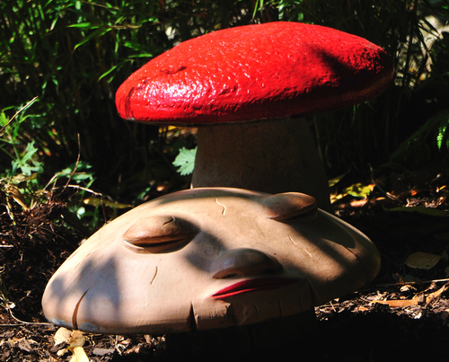 A lovely happy smiling statue mushroom.