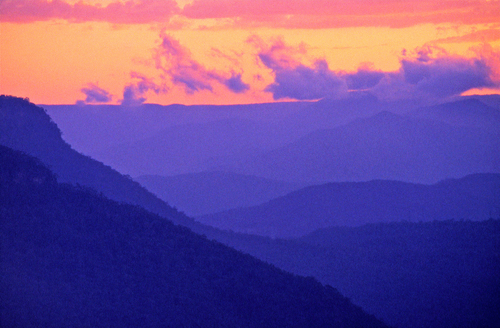 Grainy view of the Blue Mountains just after sunset near Katoomba in New South Wales