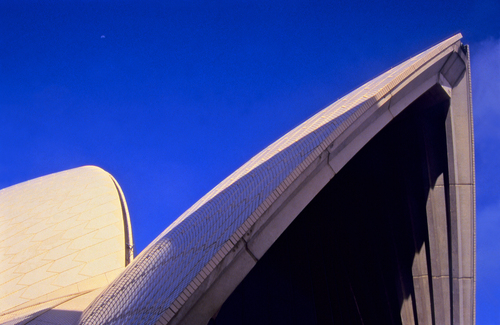 Close-up of the iconically designed Opera House in Sydney Harbour, New South Wales.