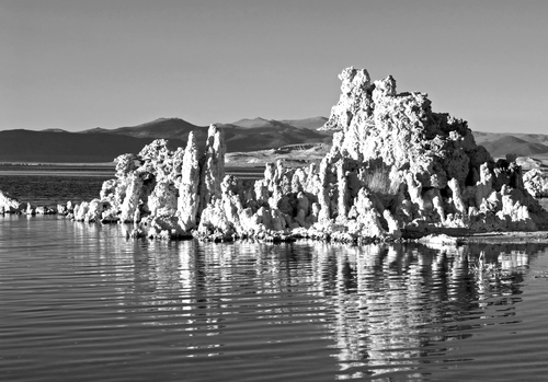 Late afternoon sunlight provides helpful side lighting to enhance the textures and rippled reflections of the tufa rock formations at Mono Lake in eastern California.
