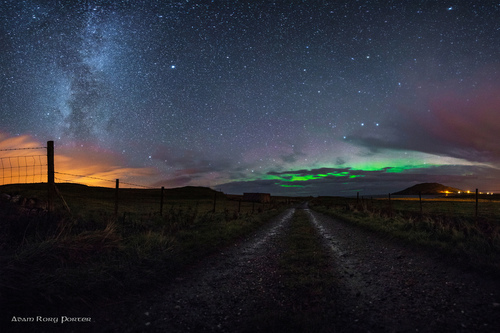 The Northern Lights / Aurora Borealis and the Milky Way at Leenan, Urris, Clonmany, Inishowen, County Donegal, Ireland.