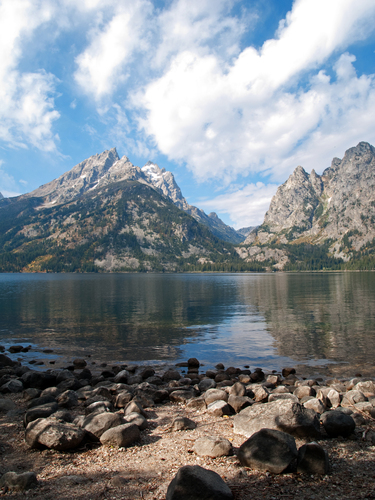 View of Grand Teton across the waters of Jenny Lake in Grand Teton National Park, Wyoming.